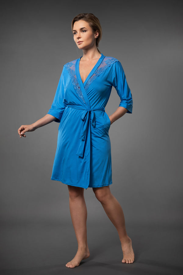 Blue short lightweight dressing gown with embroidery, plus size kimono with side pockets and belt