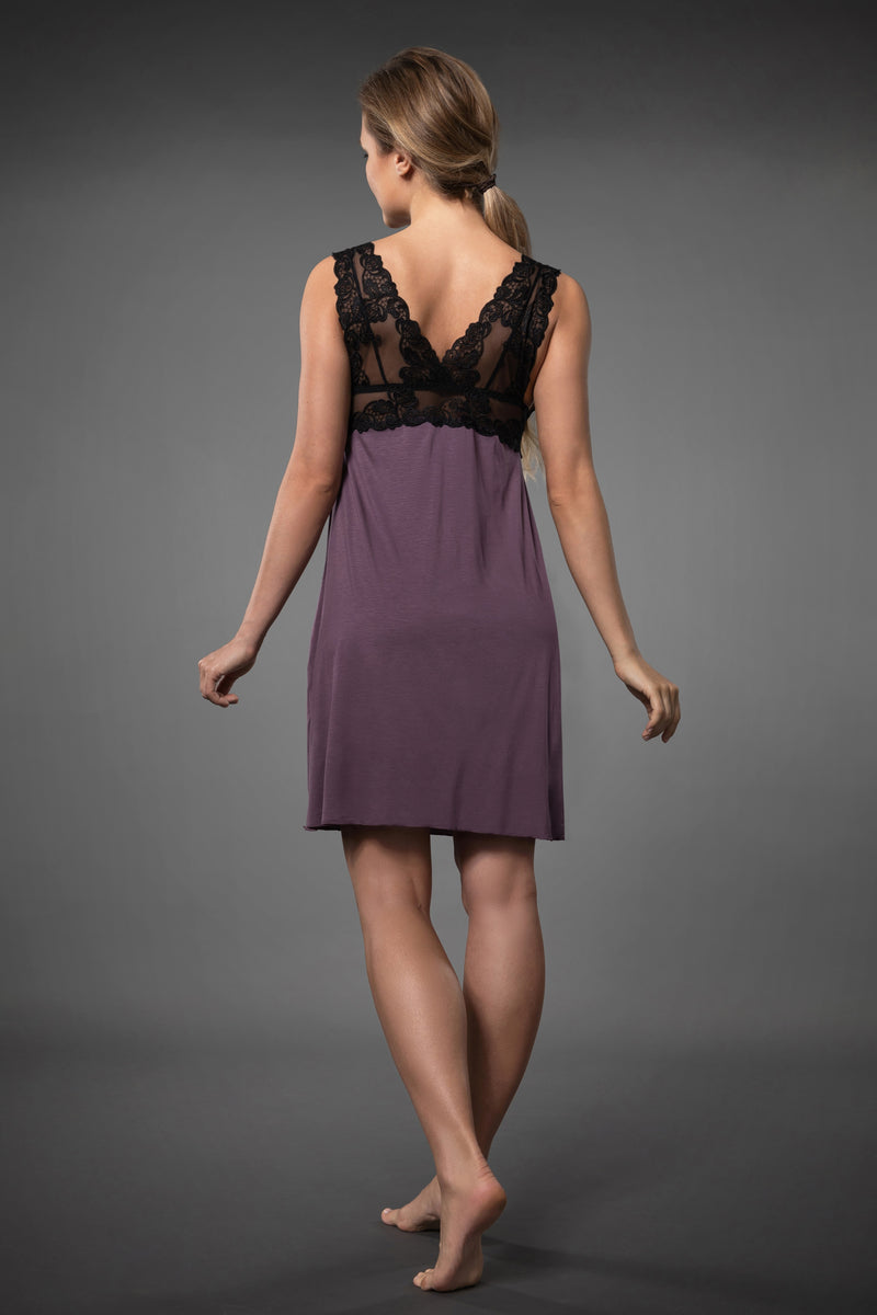Elegant and classy purple babydoll nightie with transparent black lace chest line