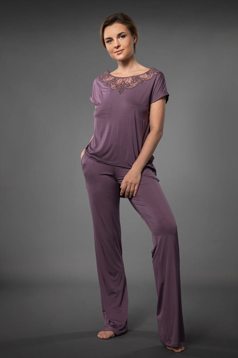 Ladies luxury pajamas loose top with embroidered neckline and loose pajama bottoms with pockets
