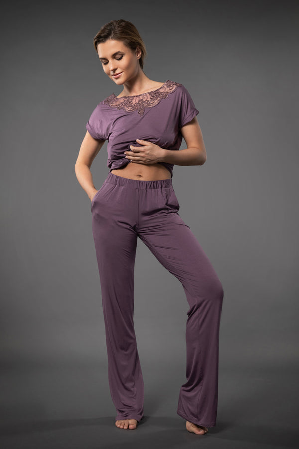 SOFT LOUNGE PANTS WITH POCKETS COCOA BROWN