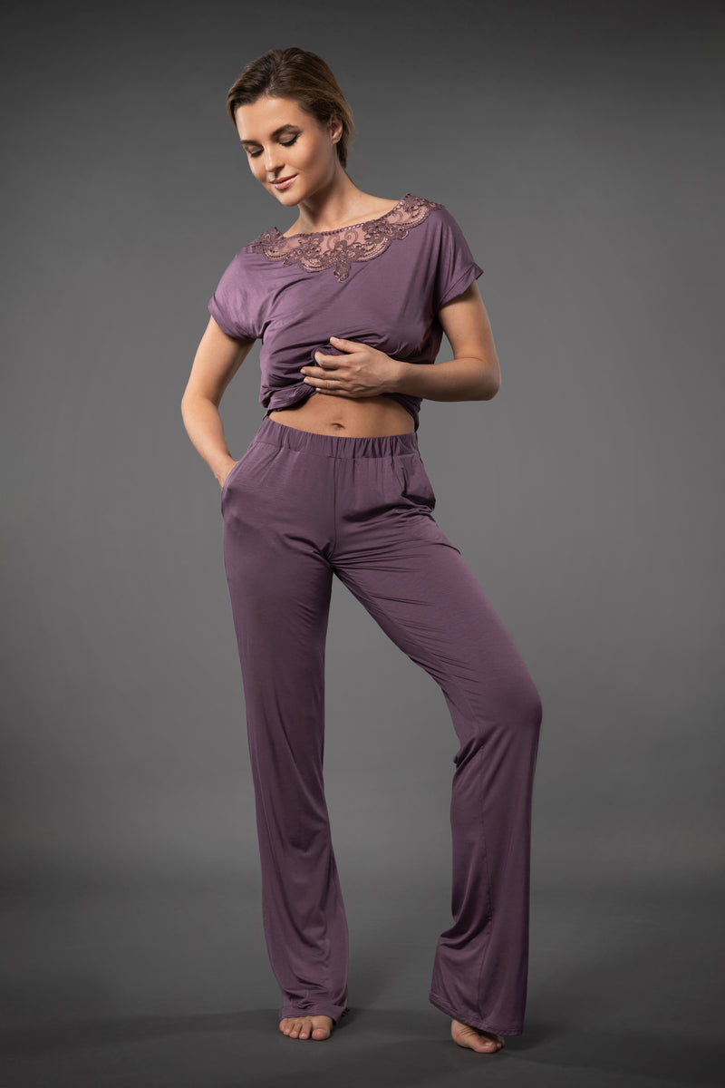 Purple ladies luxury nightwear loose pants with pockets