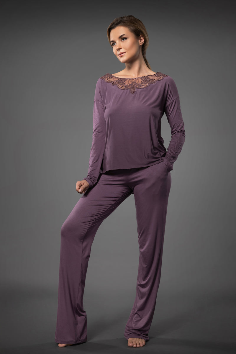 Ladies purple loungewear set long top with embroidery and pajama palazzo pants with pockets