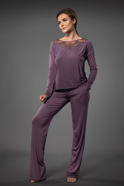Purple ladies lounge suits lace sleepwear with long top and palazzo trousers with side pockets