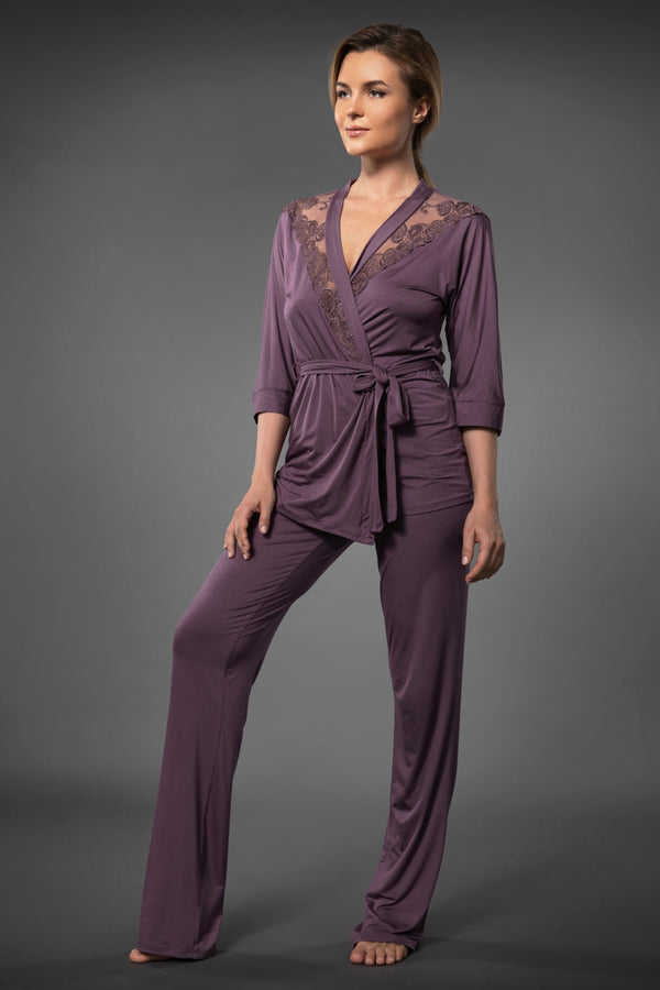 Purple luxury pajamas lace tops for women and comfortable pajama bottoms in palazzo pants style with pockets