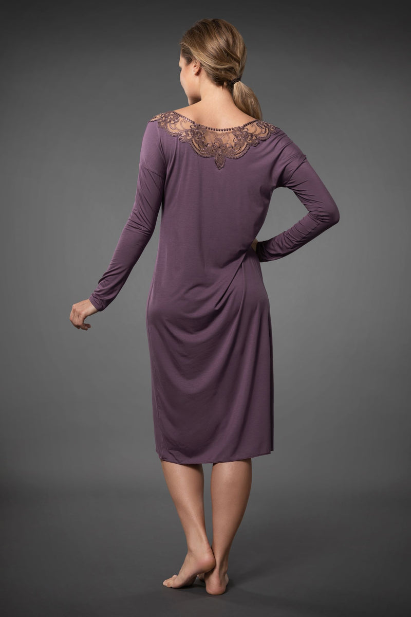 Luxurious purple long nightdress with embroidered neckline is perfectly soft and light long sleeve nightshirt knee length