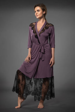 ELEGANT LONG LACEY DRESSING GOWN WITH LACE COCOA BROWN