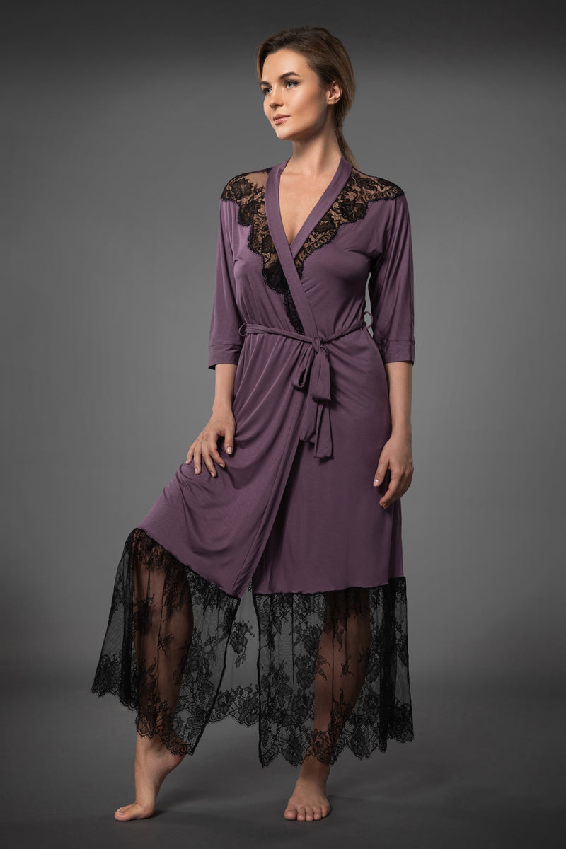 Purple ladies dressing gowns with black lace trim, long bathrobe has matching belt and pockets