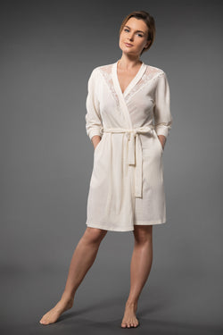 SEDUCTIVE SHORT LACEY DRESSING GOWN WITH BELT IVORY