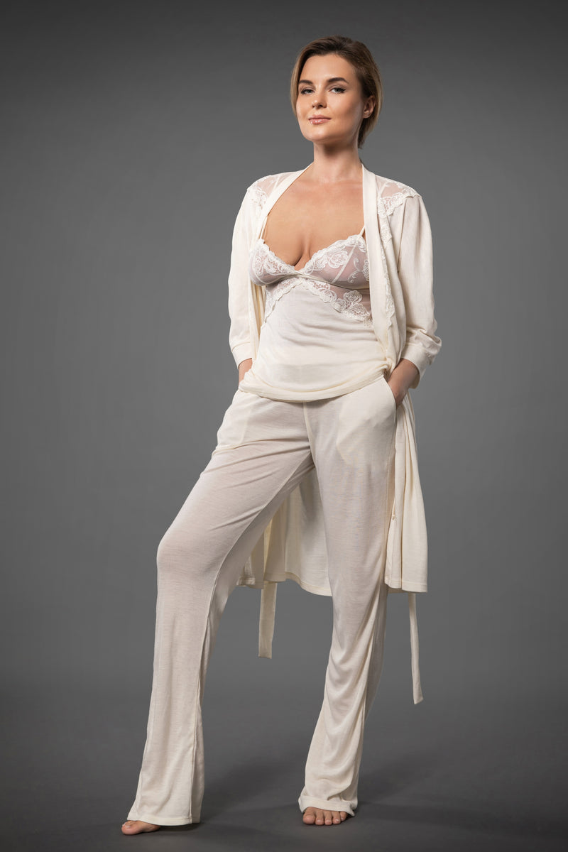 Ivory lounge set with lace lingerie top, palazzo pants and lace kimono dressing gown with side pockets