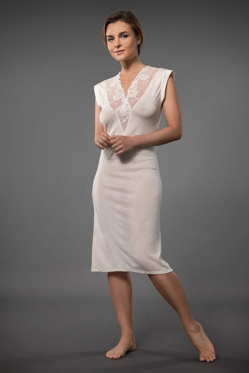 Ivory Sleeveless Long Nightdress with Embroidered Deep V-neckline made of merino wool and silk