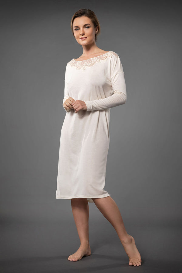 Luxury long sleeve nightdress knee length in ivory colour with embroidery details