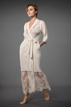 ELEGANT LONG LACEY DRESSING GOWN WITH BELT IVORY