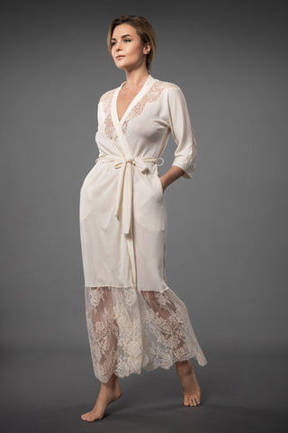 Ivory Dressing Gown with Lace Trim