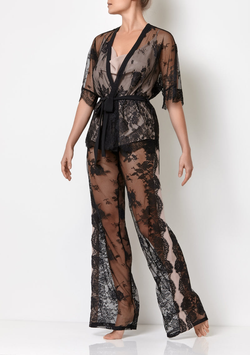 Black lace pyjama set for women with pink silk cami top, lace black top and full length lace black trousers