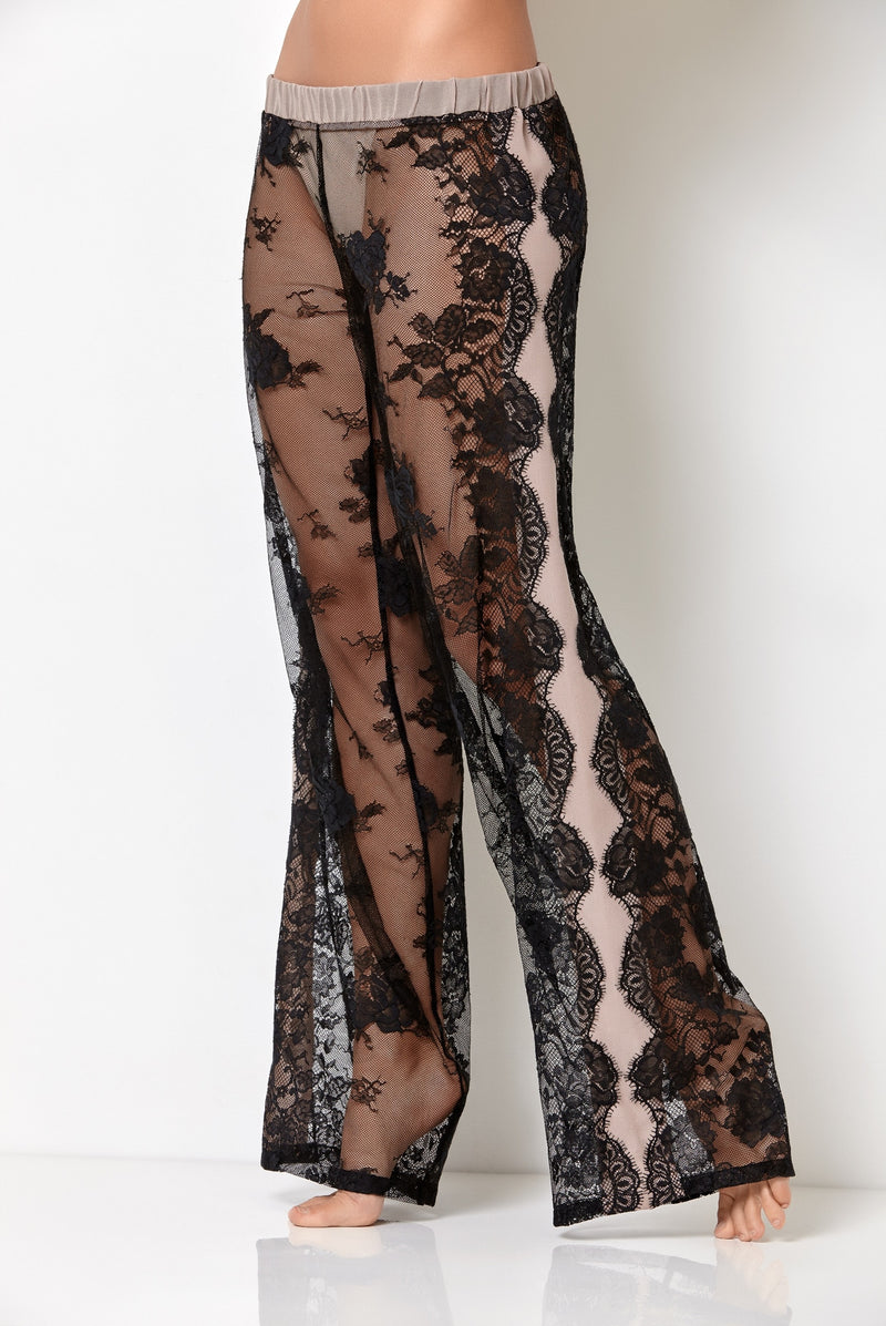 Luxury transparent black lace pajama bottoms in palazzo pants style