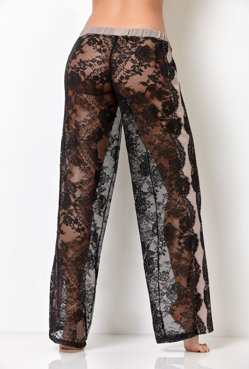 Luxury see through black lace pajama bottoms in palazzo pants style