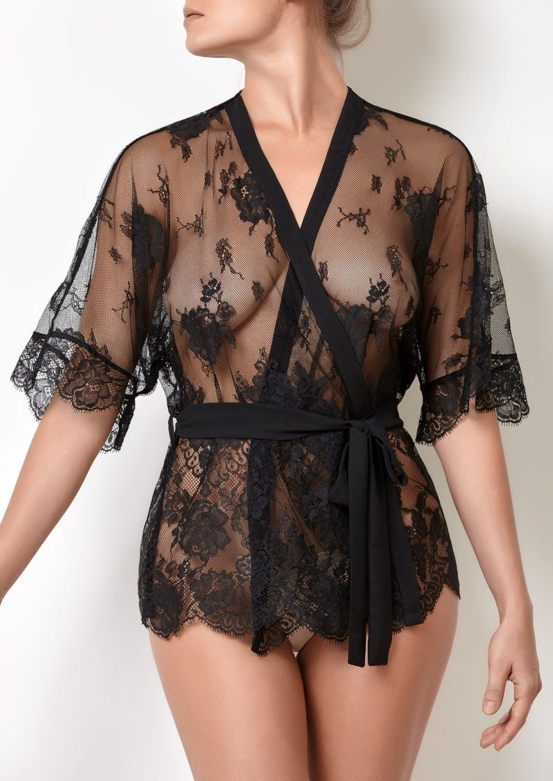 Intimate ladies nightwear black lingerie top with belt, see through black lace top for loungewear