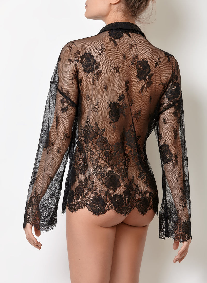 Ladies lace black shirt long sleeved, transparent loungewear black top with shirt collar