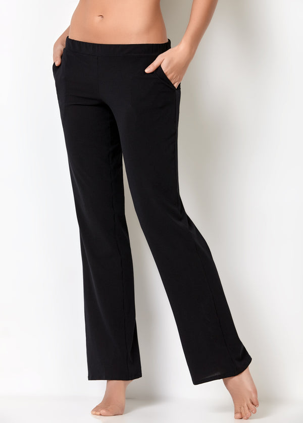 Ladies lounge suits light black loungewear pants with side pockets