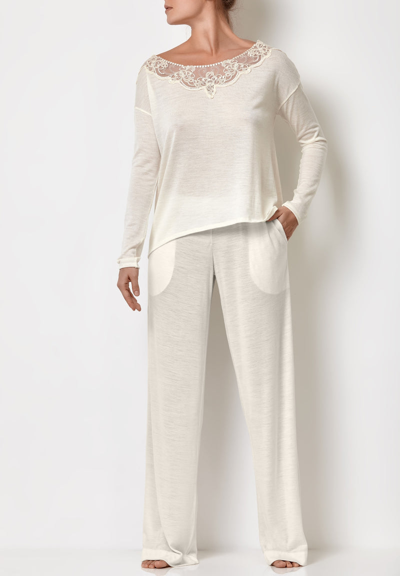 Ladies pyjamas embroidered white top and pyjama white palazzo pants with pockets are bride pyjamas