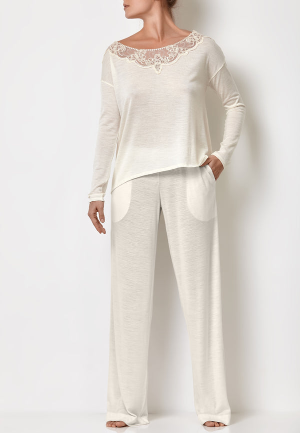 White bride pyjamas women's loungewear sets with sheer lounge top and white palazzo pants with pockets
