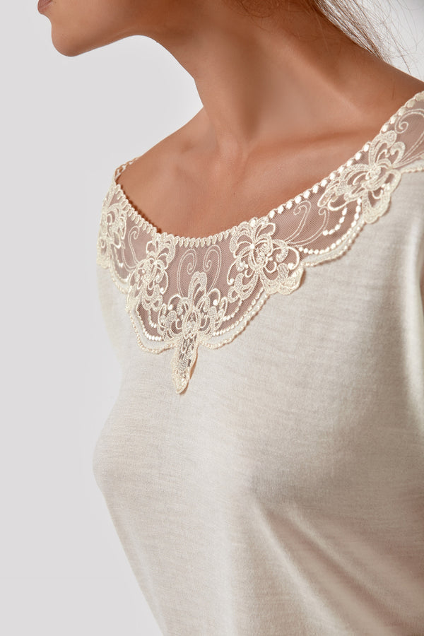 Ladies loungewear white long sleeve lace top