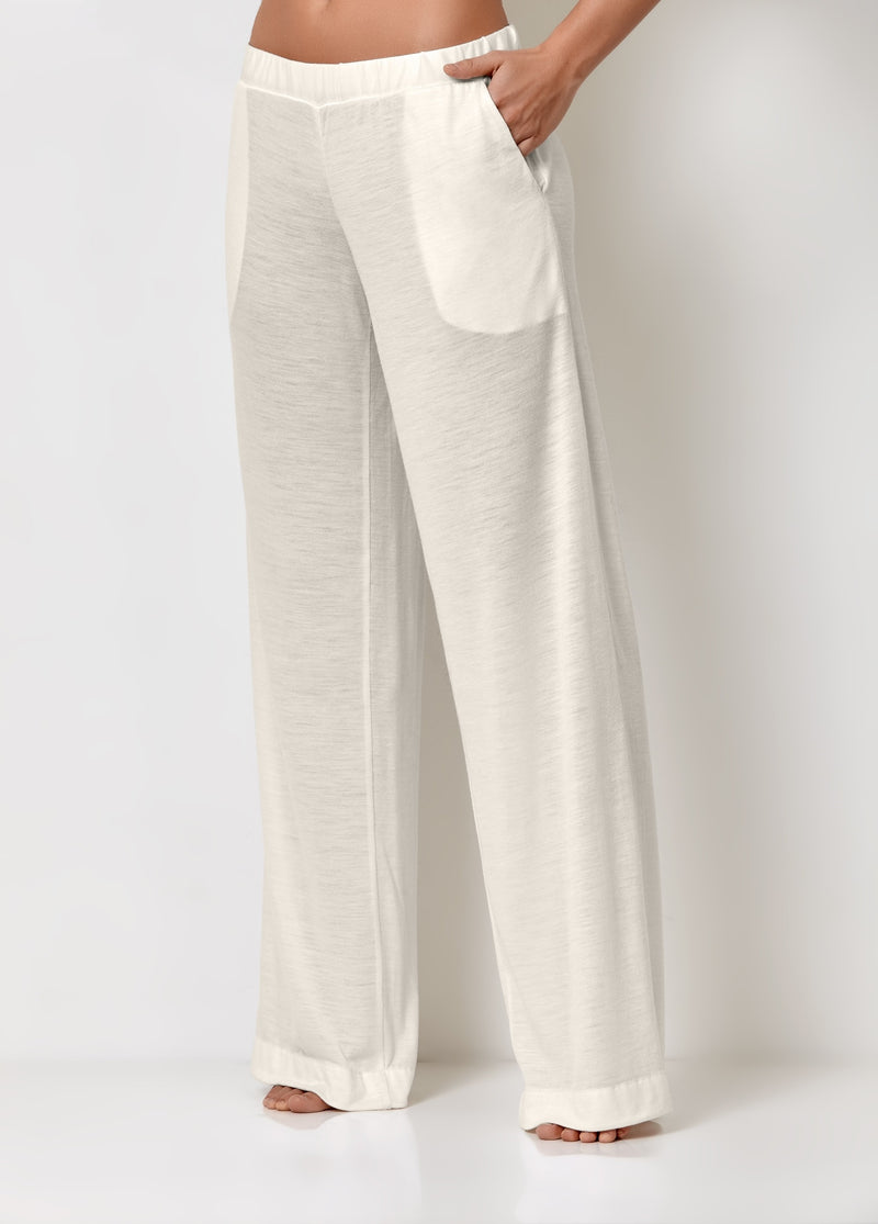 White trousers for home with pockets palazzo pants style pyjama bottoms