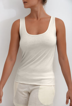 Womens vest tops in white, tank tops for women made of organic merino wool, white t shirt made as nightwear