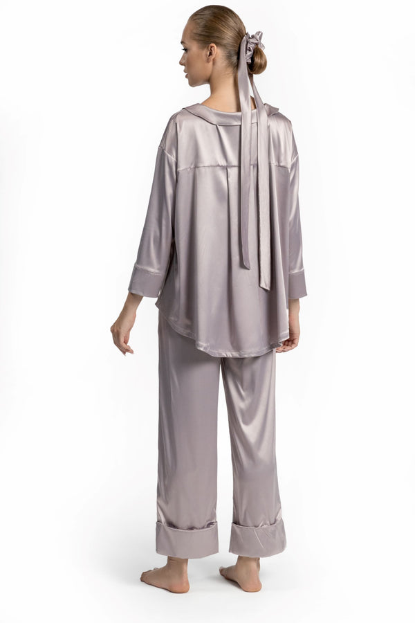 2-Piece Satin Silk Pajama Set for Women Sleep Set