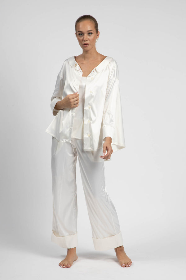 Ivory 2-Piece Satin Pyjama Set