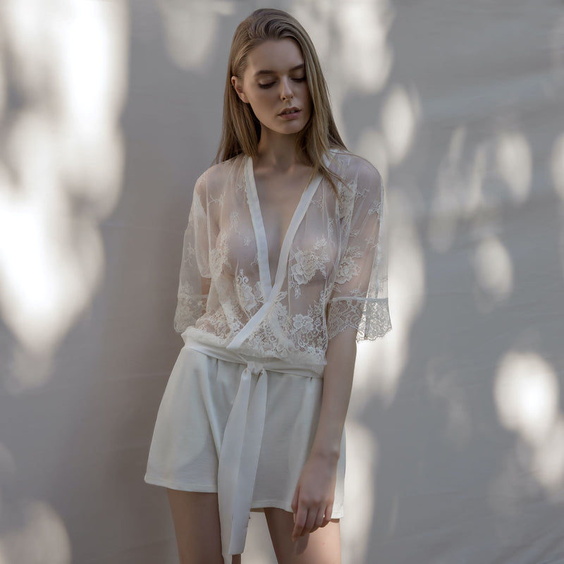 Ivory Lace See Through Top