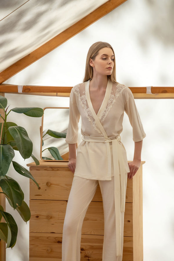 Ivory Embroidered Blazer and Pants Set