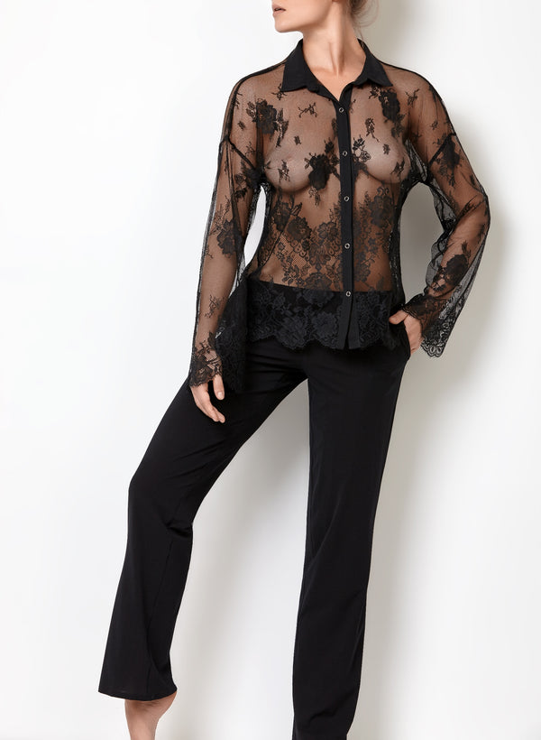 Black sexy nightwear loungewear set with lace see through black blouse and pajama black trousers with pockets