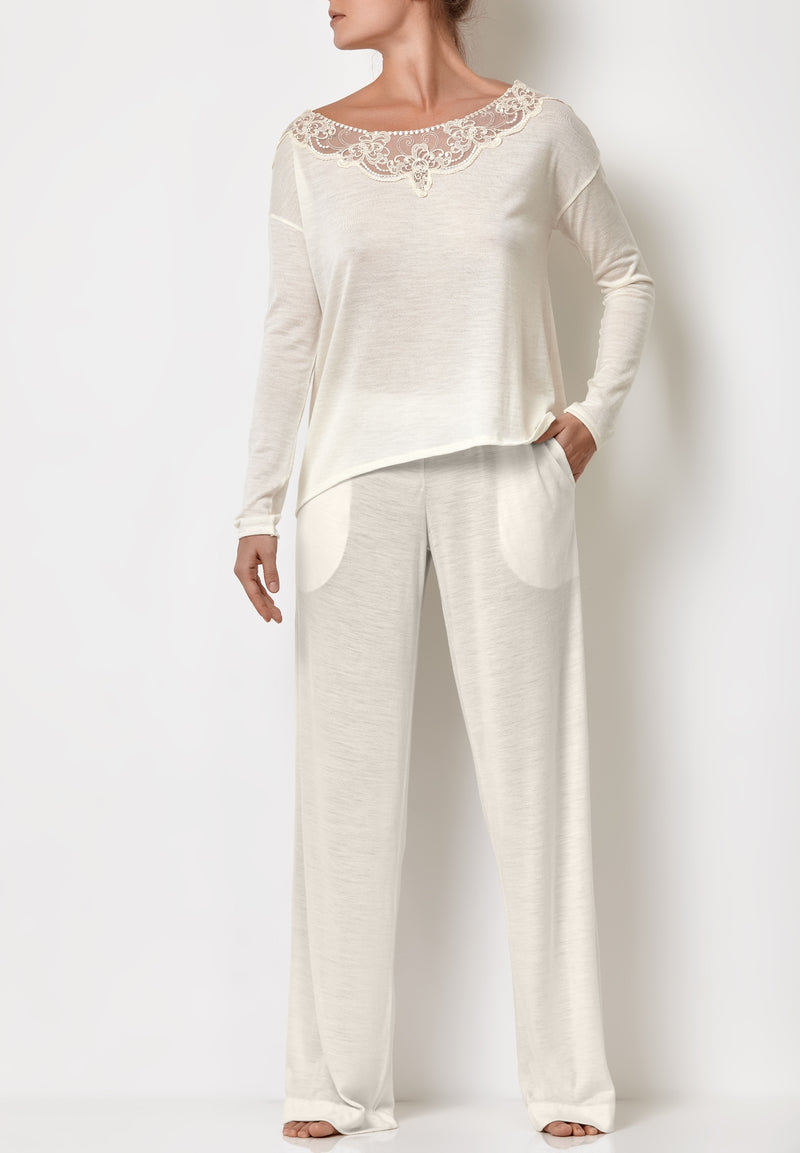 Ladies loungewear white pajama bottoms wide-leg palazzo pants and white lace top bride pjs