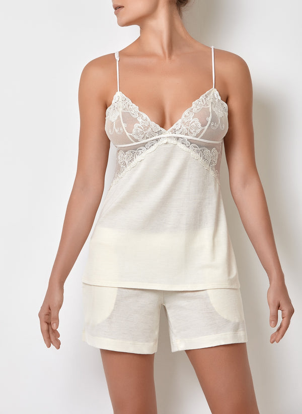 White ladies short pyjamas set with lace camisole top with adjustable straps and pajama shorts with pockets, bridal pyjama