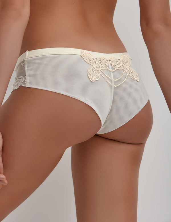 White low-rise womens lingerie lace knickers with embroidered sides, bridal lingerie