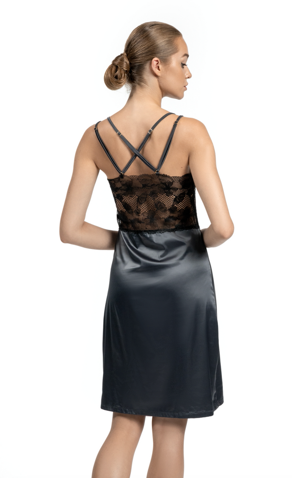Graphite Satin Silk Slip Dress See Through Nightie