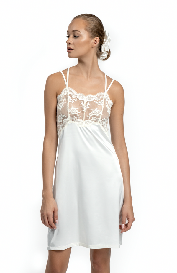 Ivory Satin Silk Slip Dress See Through Nightie