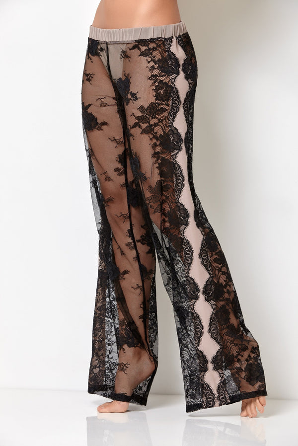 Luxury nightwear black lace pants have sexy transparency and unique palazzo pants style