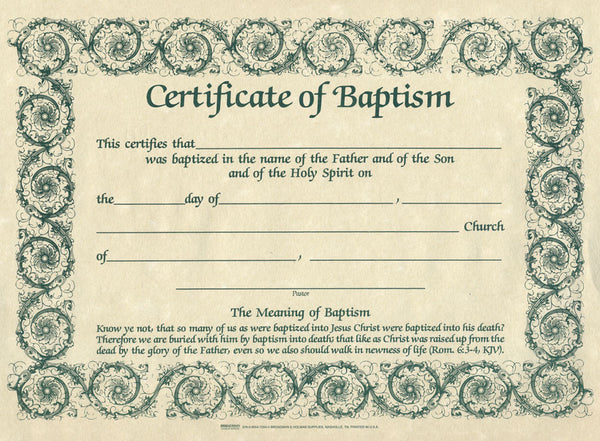 Baptism Certificates- Parchment (Pack of Six)
