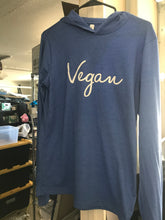 Vegan Signature Long Sleeve Hooded Tee Blue