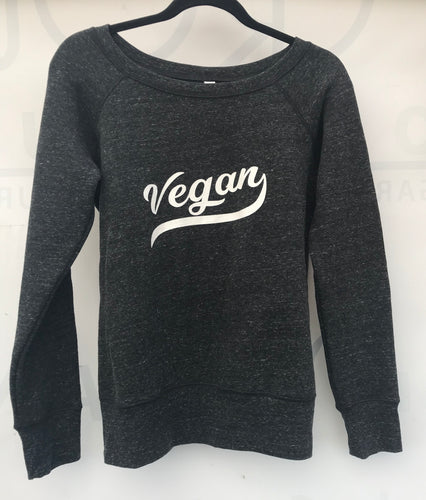 Vegan Retro Fleece Wideneck Sweatshirt Black