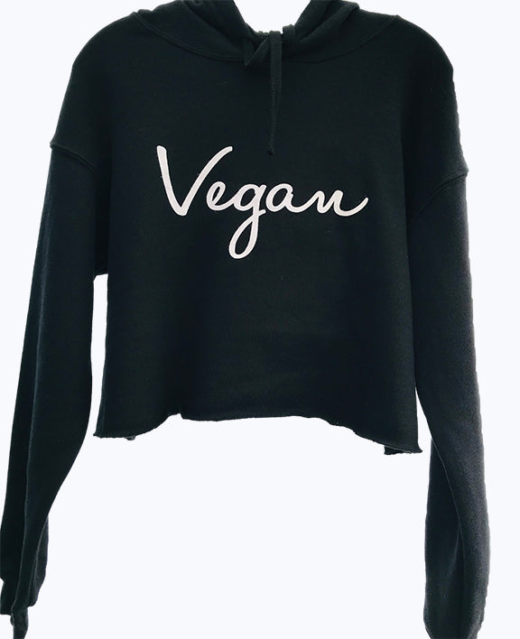 Vegan Signature Crop Fleece Hoodie Black