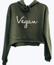 Vegan Signature Crop Fleece Hoodie Green