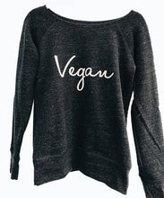 Vegan Signature Wide Neck Fleece Sweatshirt Charcoal
