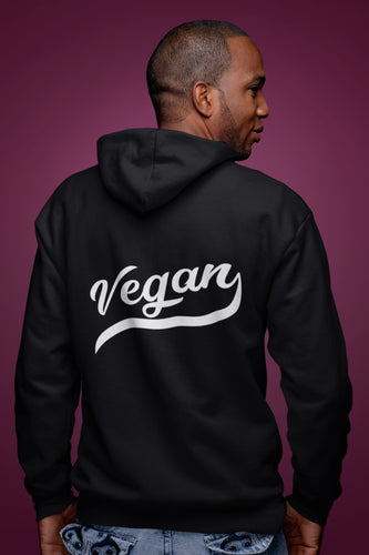 Vegan Retro Fleece Zip Hoodie Black