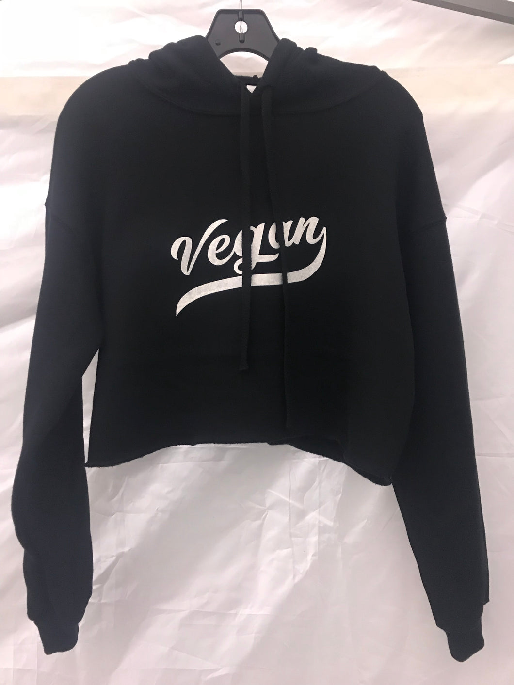 Vegan Retro Fleece Crop Hoodie