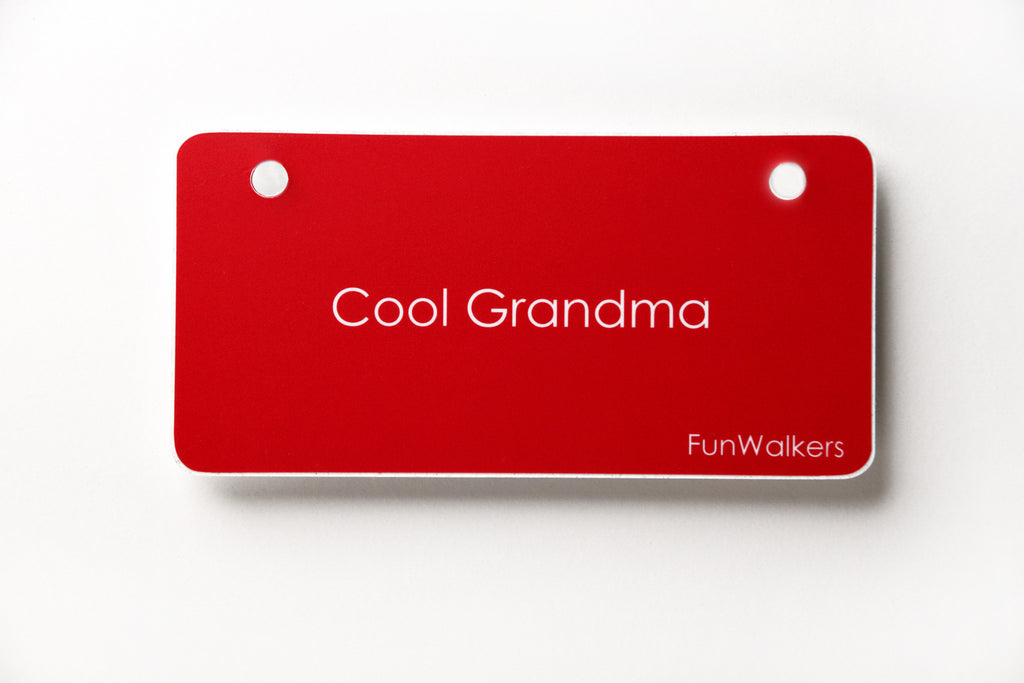 """Cool Grandma"" 3 x 6"" Funwalkers License Plaque for Rollators, Scooters"