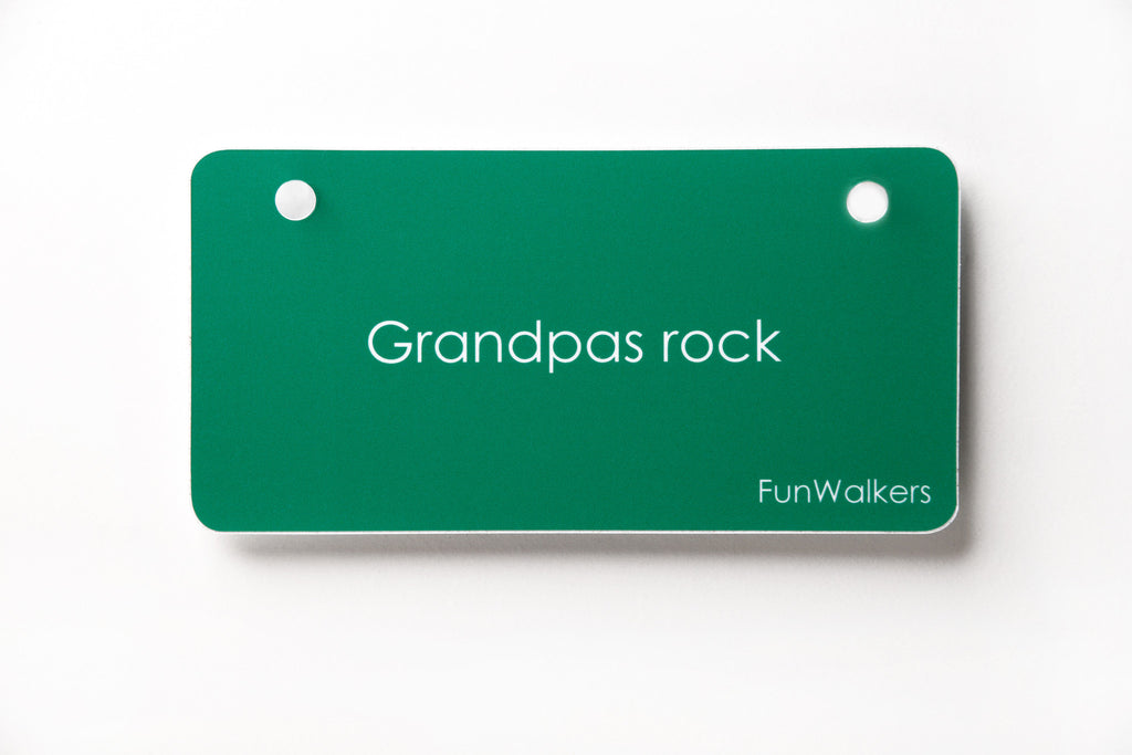 """Grandpas rock"" 3 x 6"" Funwalkers License for Walkers, Rollators, Scooters!"