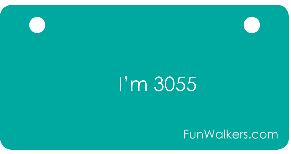 I'm 3055 - Funwalkers License Plate for Walkers, Rollators, Scooters